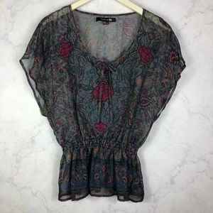 [F21] Light Floral Paisley Top